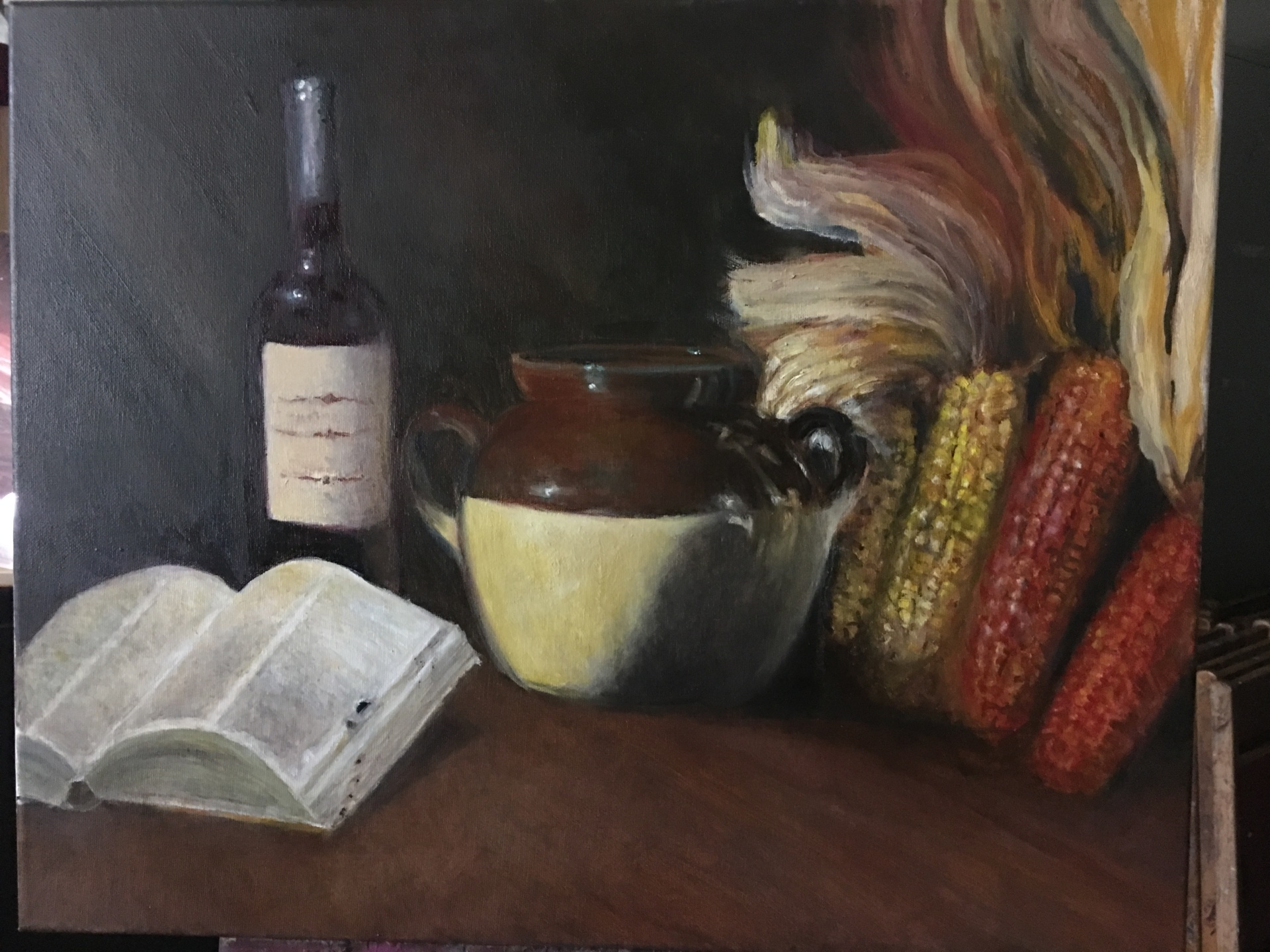 Still Life Book & Corn