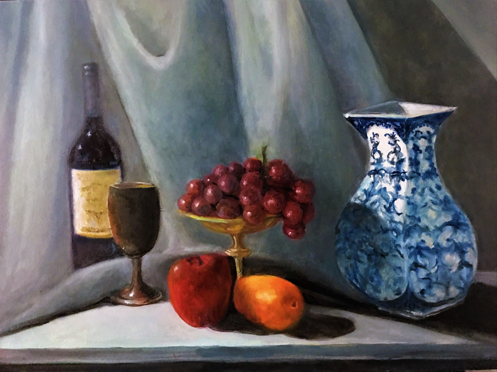 Blue Vase and Grapes